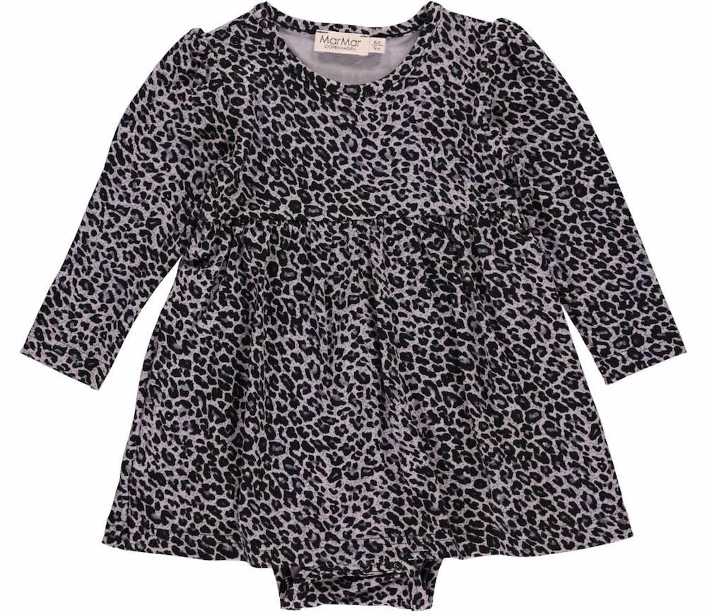 Zwart Grijs Jurkje.Marmar Leo Ramona Grey Babydress Jurk Luipaard Grijs Zwart Minipop